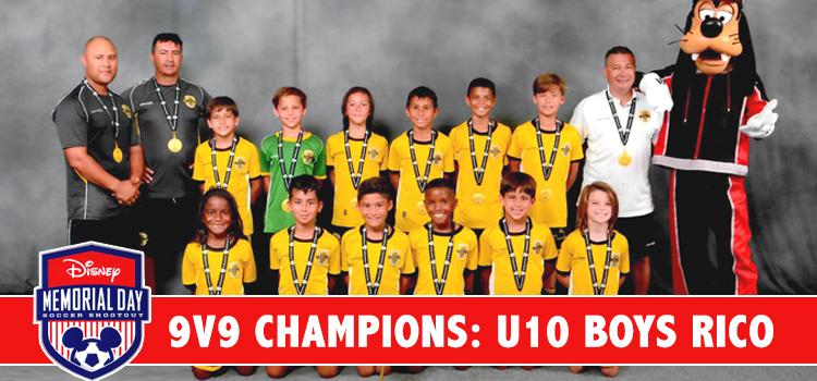 U10 Black are Disney's 9v9 Gold Division Champions