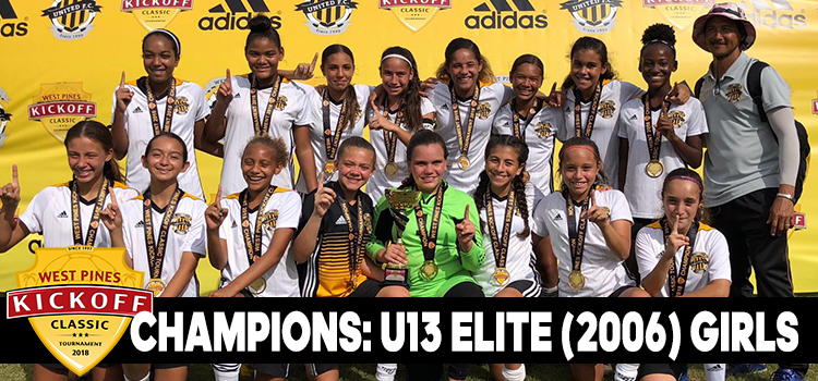 U13 Elite (2006) Girls Champions at West Pines Kickoff Classic October 2018