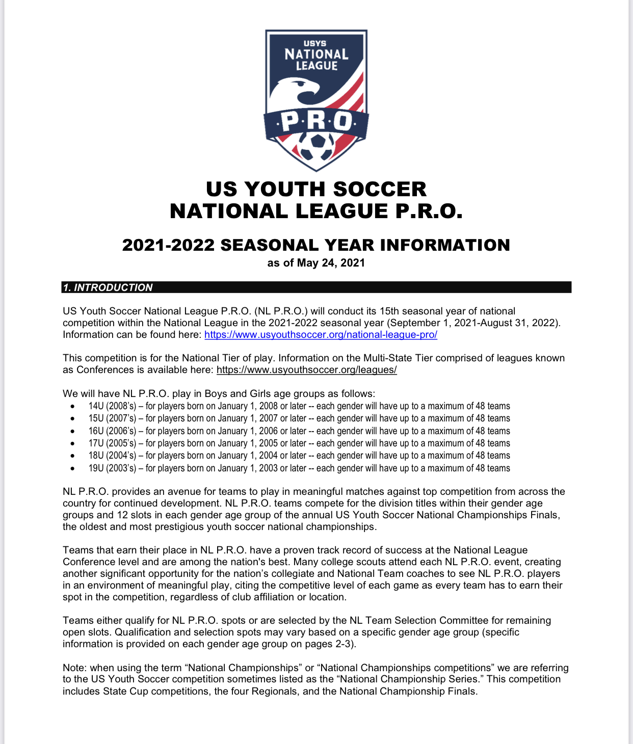 2021-2022 Seasonal Year Information
